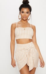Nude Gingham Tie Front Mini Skirt 1