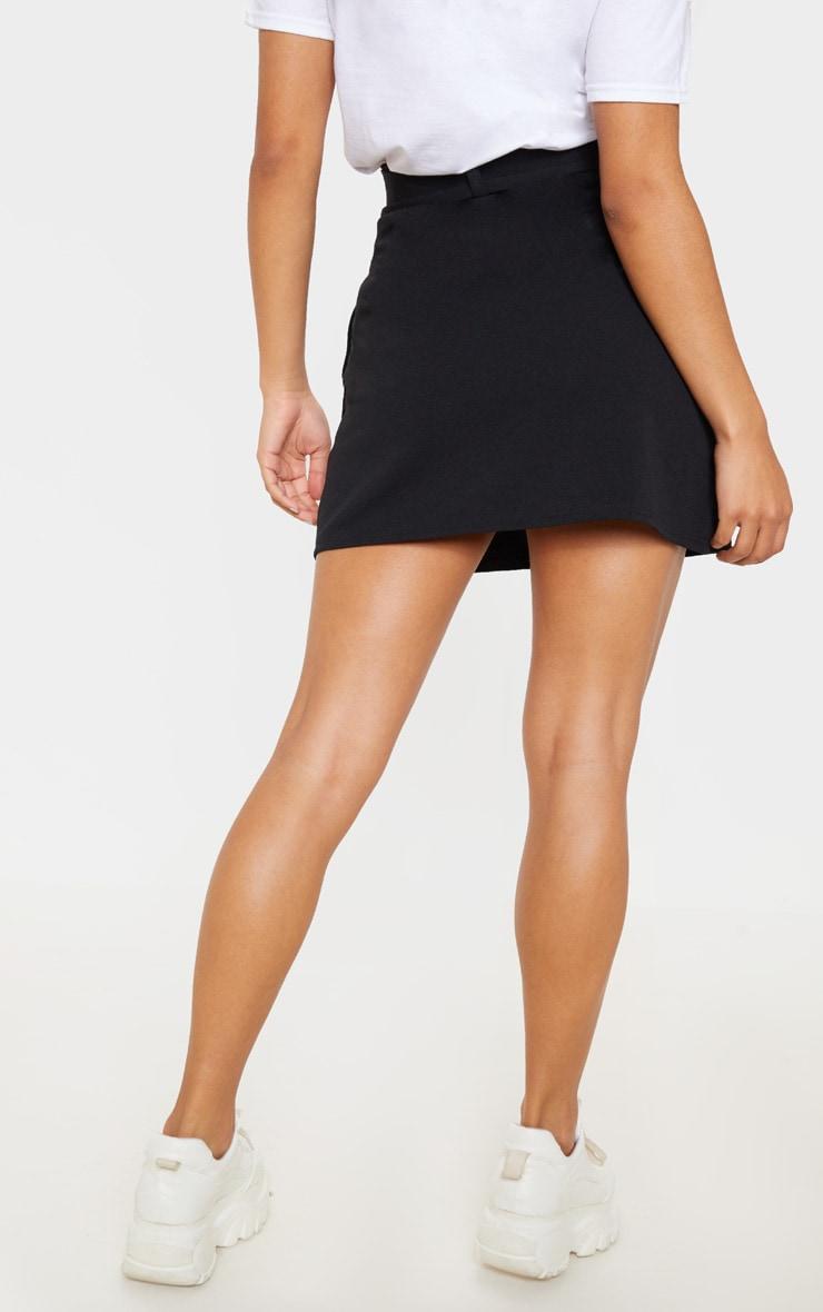 Mini-jupe droite noire à ceinture 3