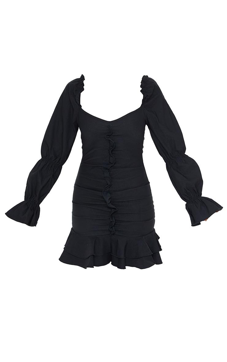 Black Puff Sleeve Ruffle Detail Frill Hem Bodycon Dress 5