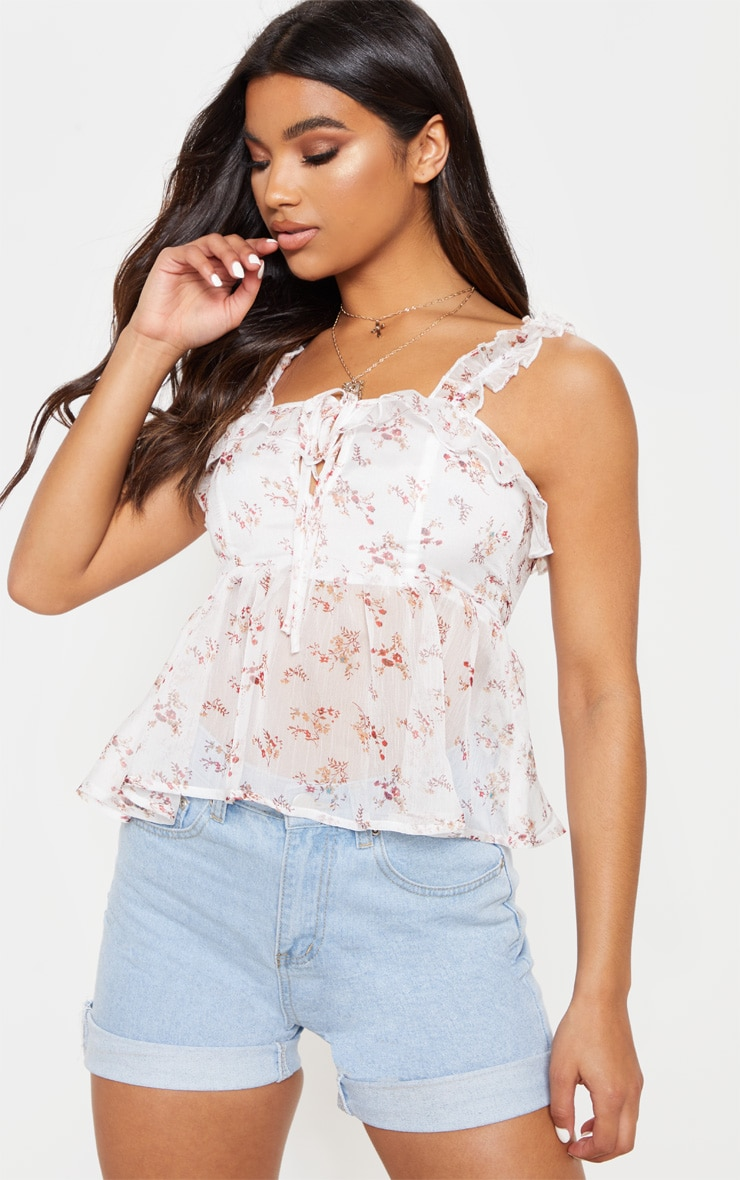 White Floral Chiffon Frill Detail Key Hole Cami Blouse  1