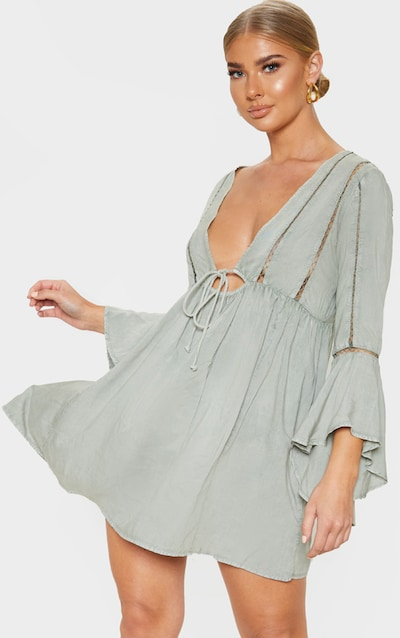 Pale Khaki Tie Front Frill Sleeve Beach Dress