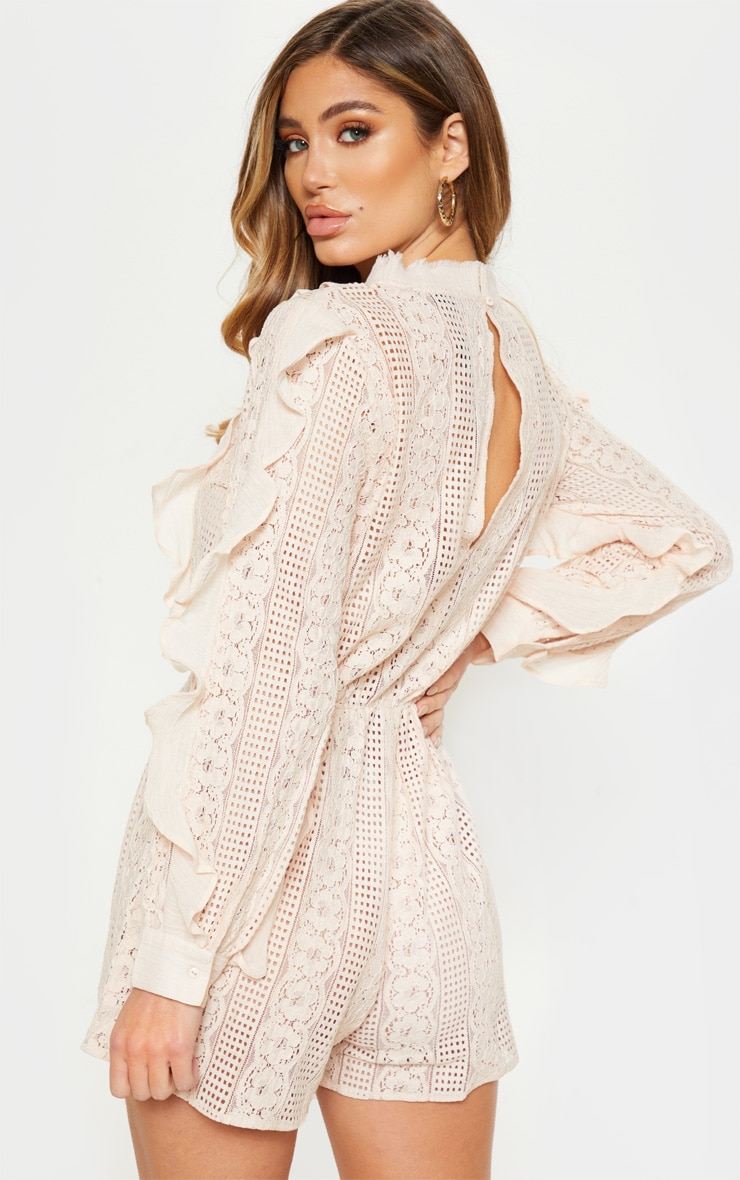Dusty Pink Lace Frill Detail Long Sleeve Playsuit 2