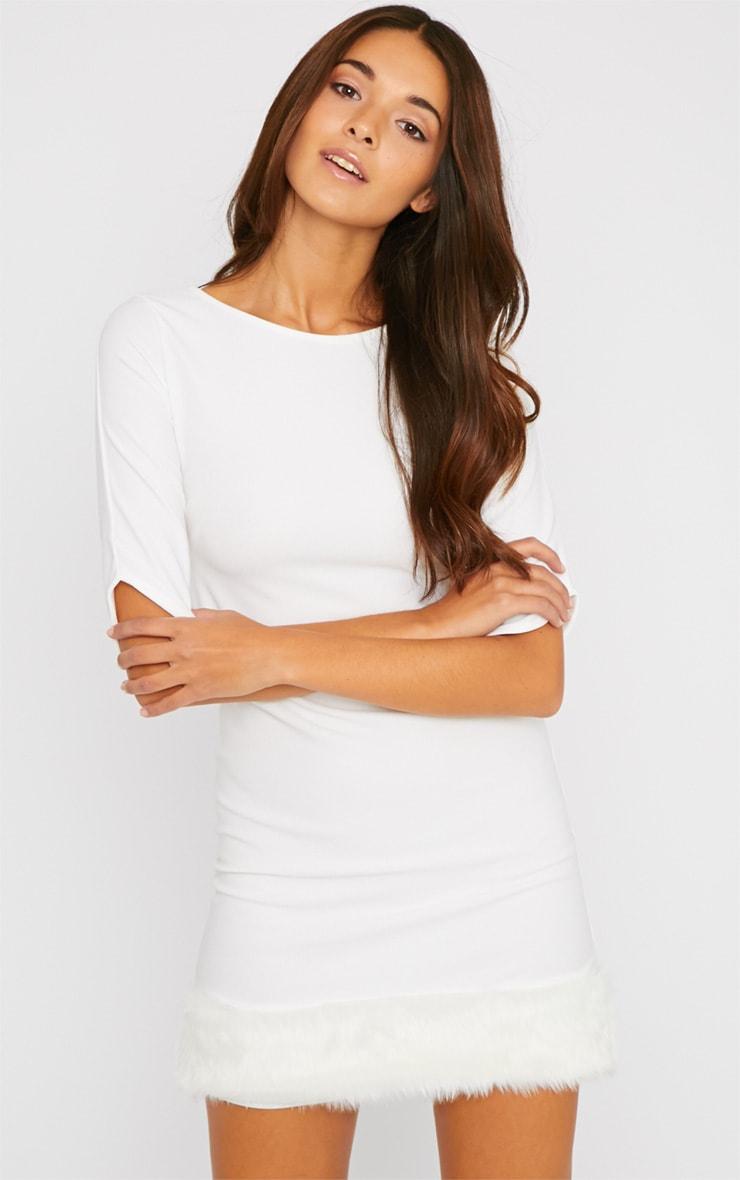 Yasmin Cream Fur Trim Dress 1