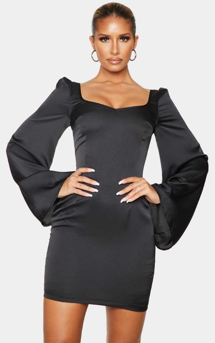 Black Lace Up Back Bodycon Dress 2