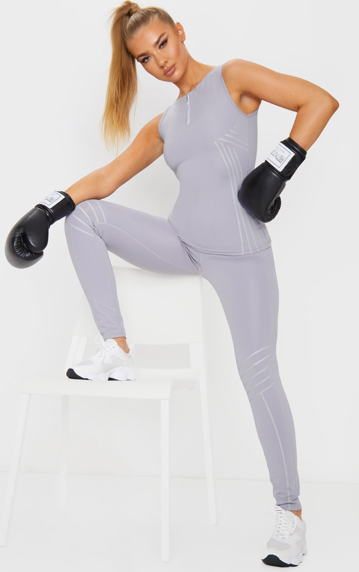 PRETTYLITTLETHING Grey Sport Line Detail Zip Up Gym Vest 3