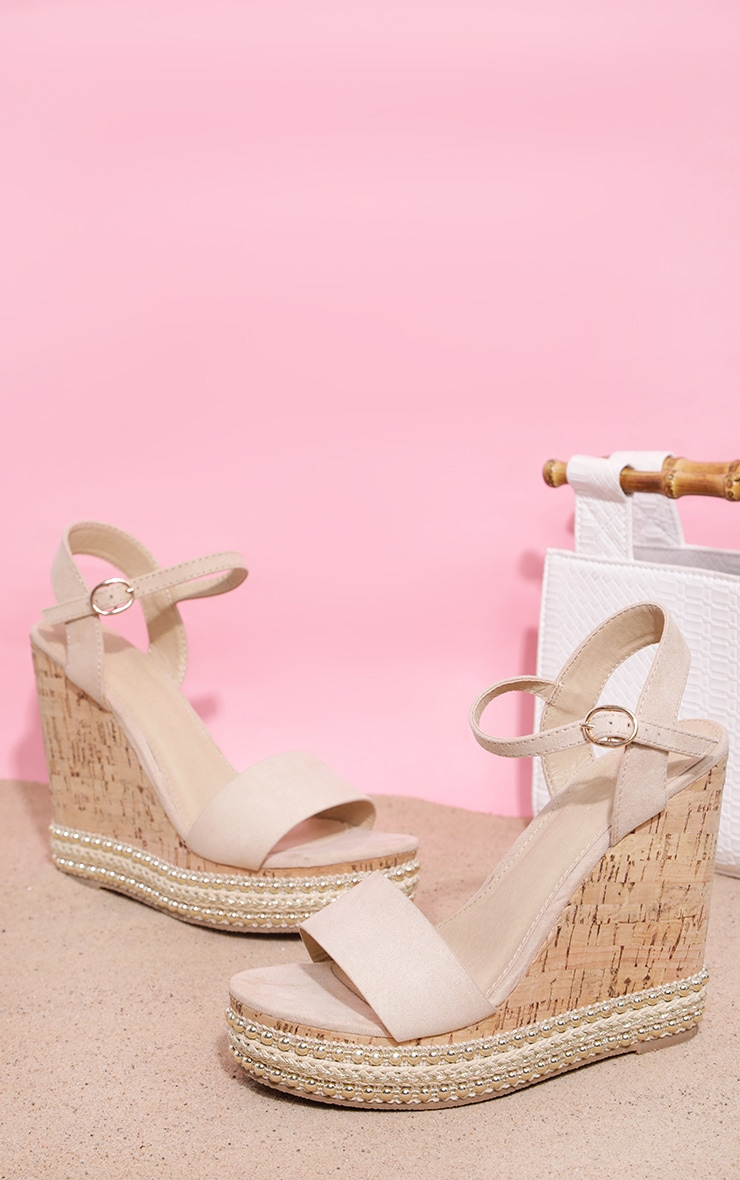 Nude Studded Cork Wedge Sandal 1
