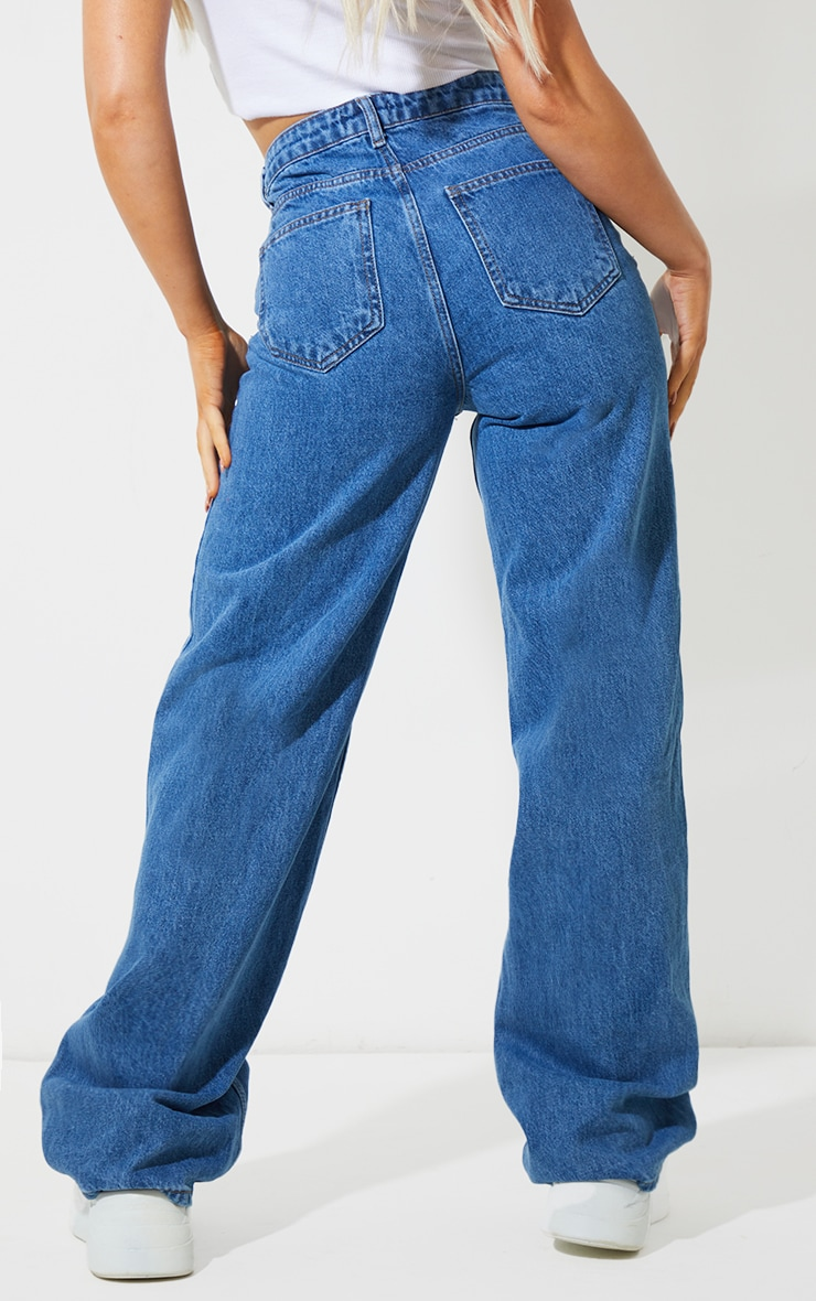 Recycled Mid Blue Wash Wide Leg Jeans 3