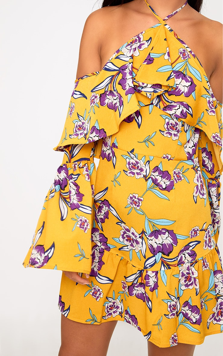Mustard Floral Print Halterneck Frill Hem Bodycon Dress 5