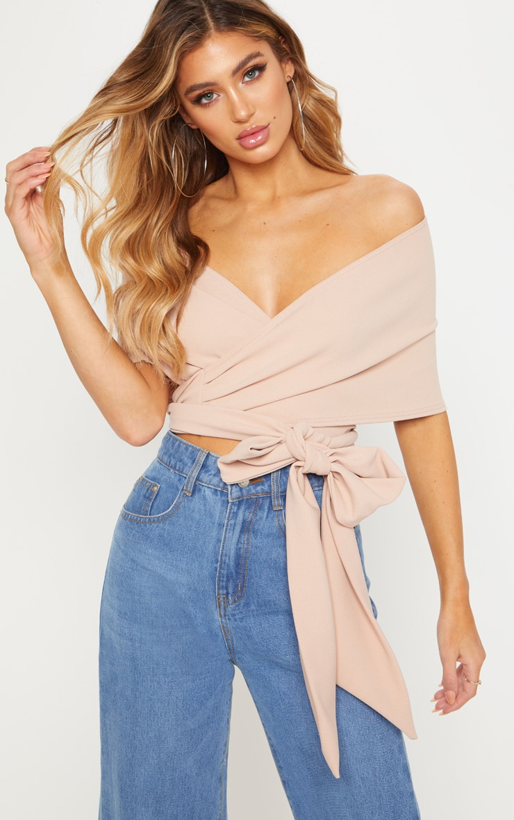 Dusty Pink Bandeau Wrap Front Crop Top 4