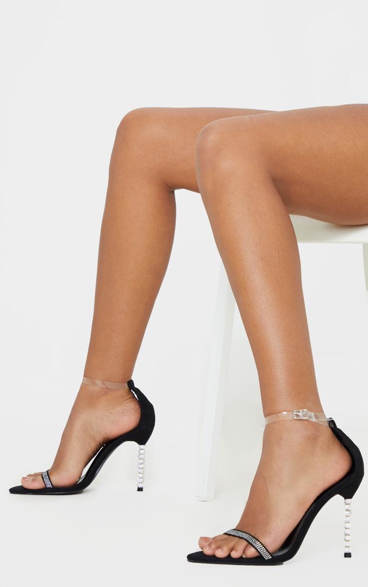 Black Diamante Beaded Heel Strappy Sandal 2
