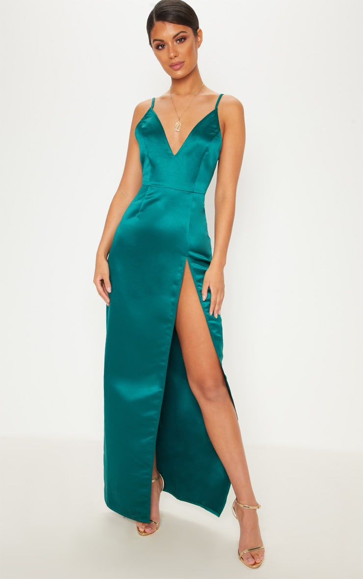 Green Satin Dress