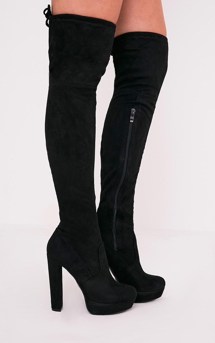 Elisabeth bottes cuissardes noires plateformes imitation daim 1