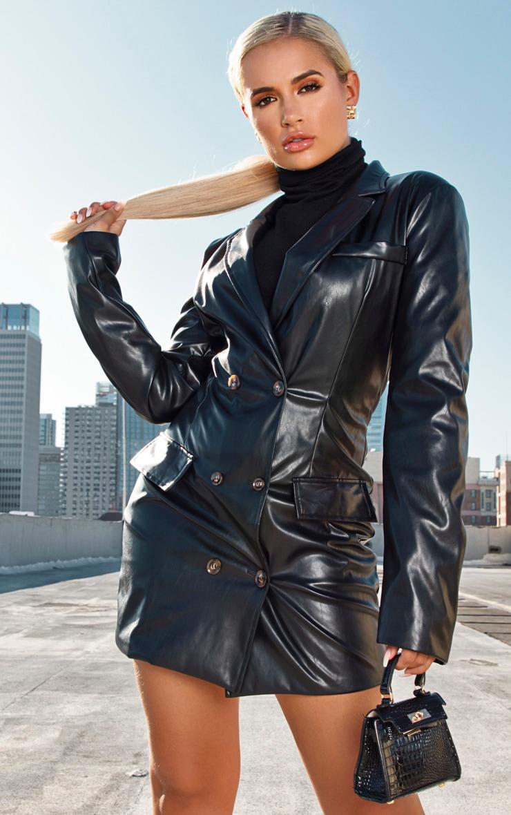 Black Faux Leather Blazer Dress 4