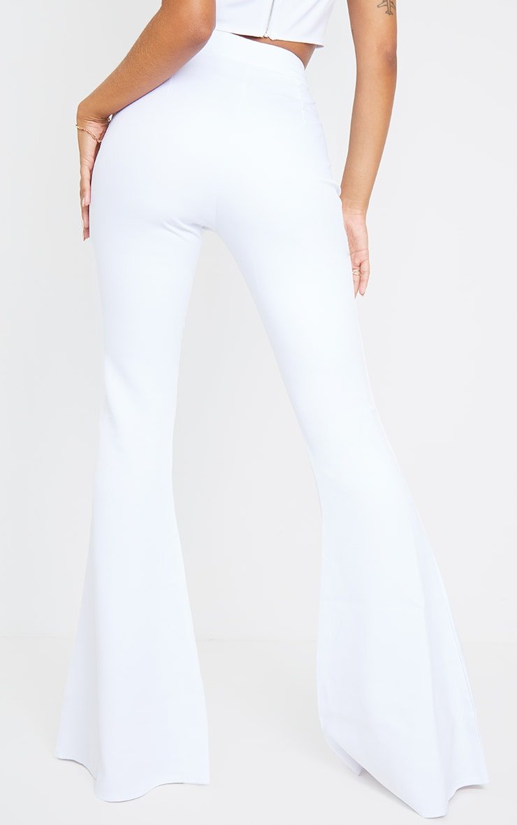 White Woven High Waisted Flare Trousers 3