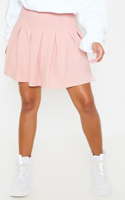 Dusty Pink Pleated Side Split Tennis Skirt