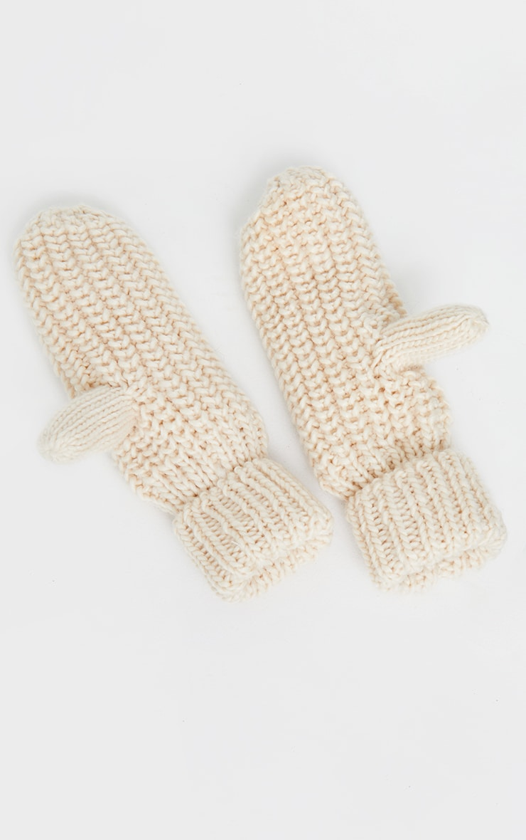 Cream Knitted Mittens 2