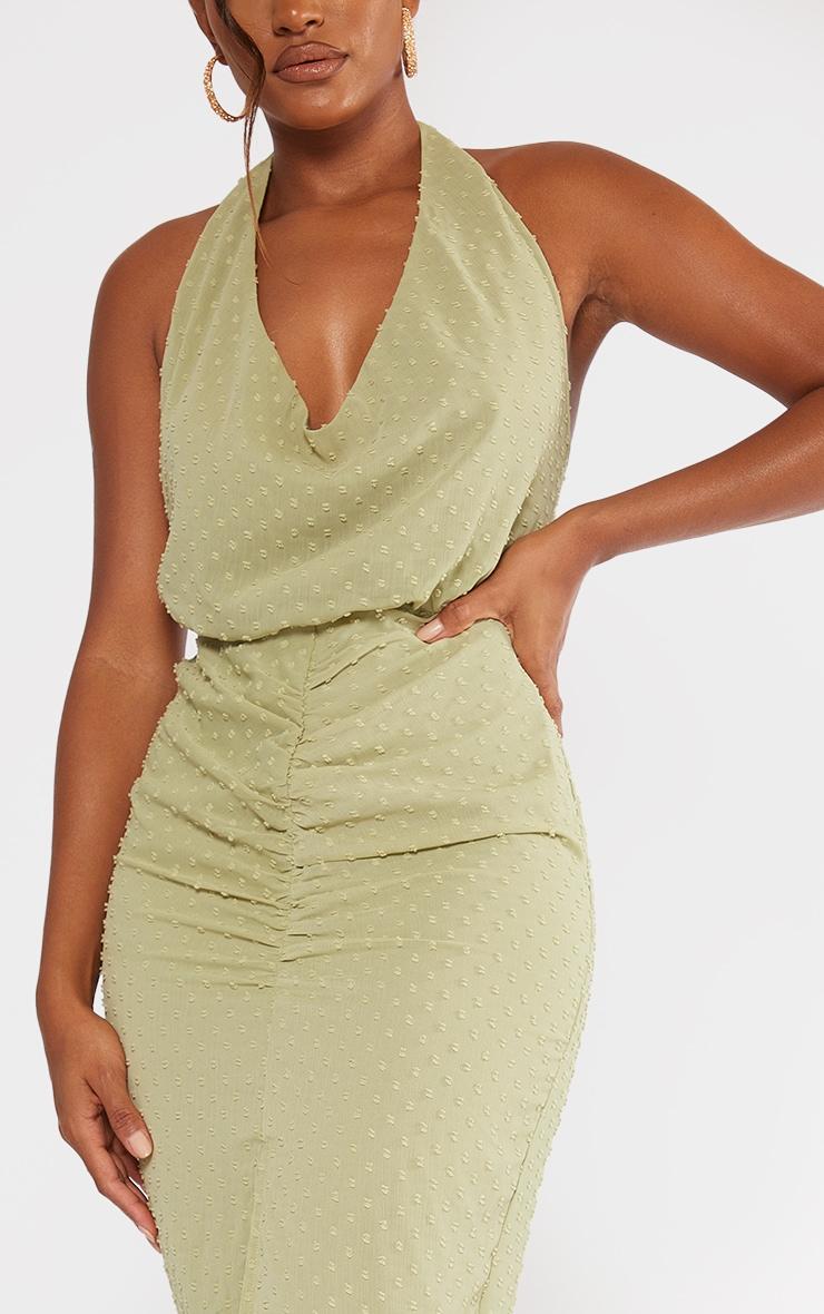 Sage Green Dobby Chiffon Halterneck Cowl Ruched Midi Dress 4