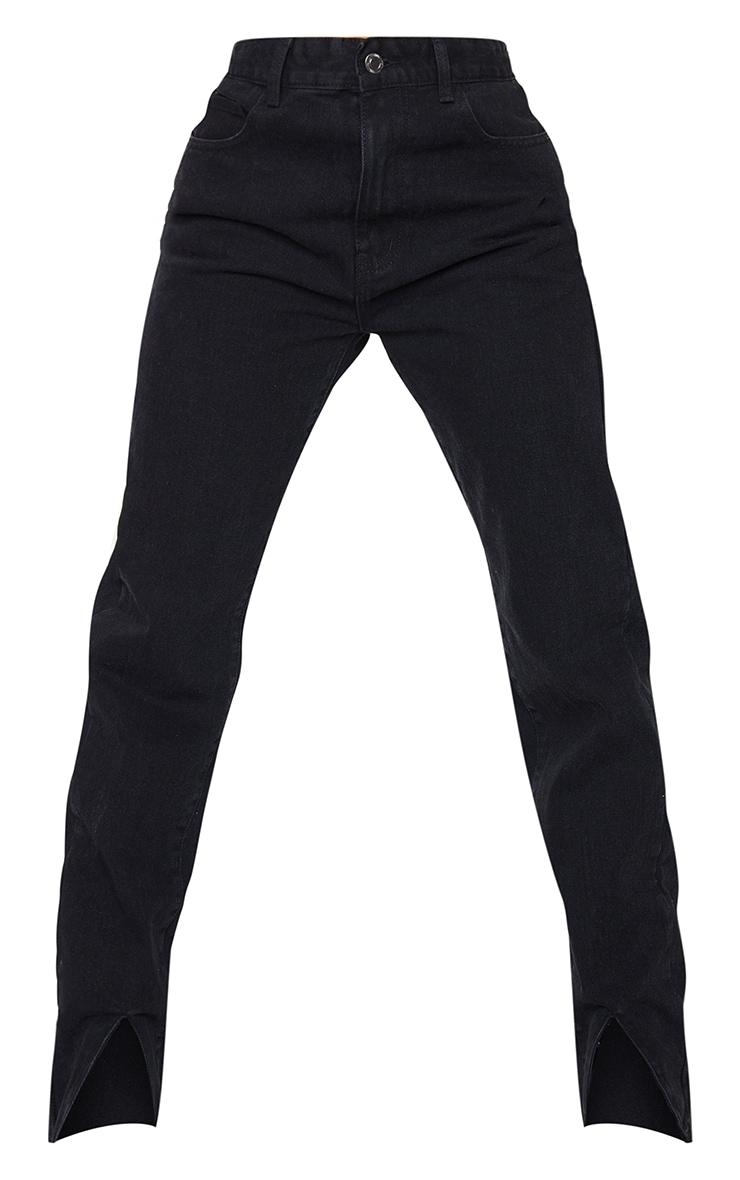 Washed Black Front Split Long Leg Straight Jeans 5