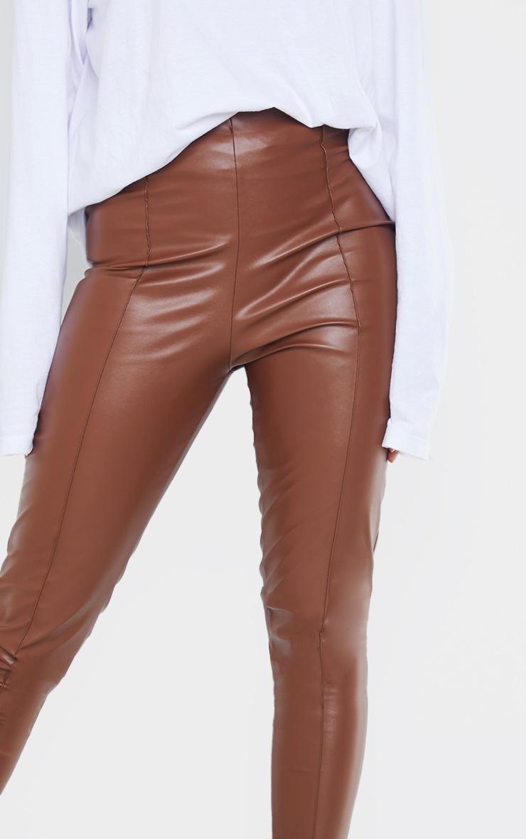 Camel Faux Leather Pintuck Detail Leggings 4