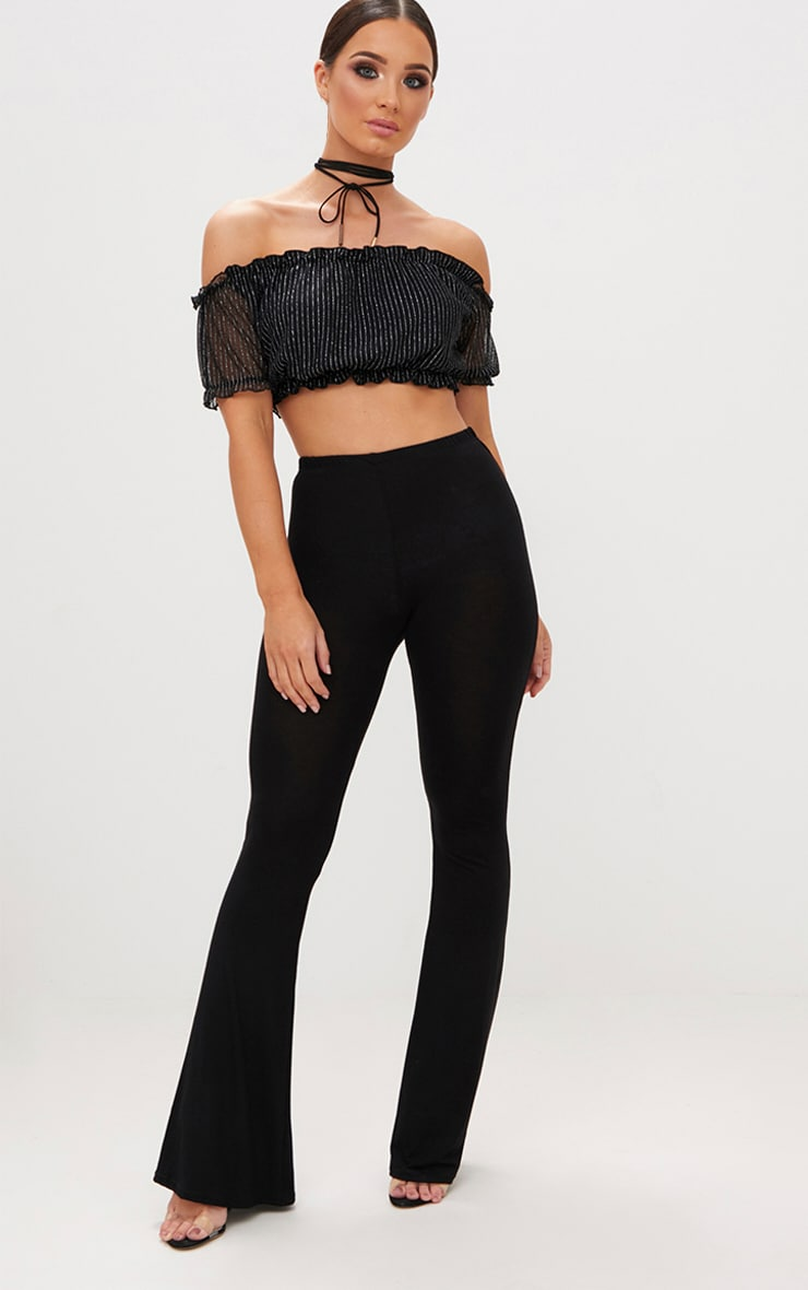 Black Glitter Stripe Bardot Crop Top 3