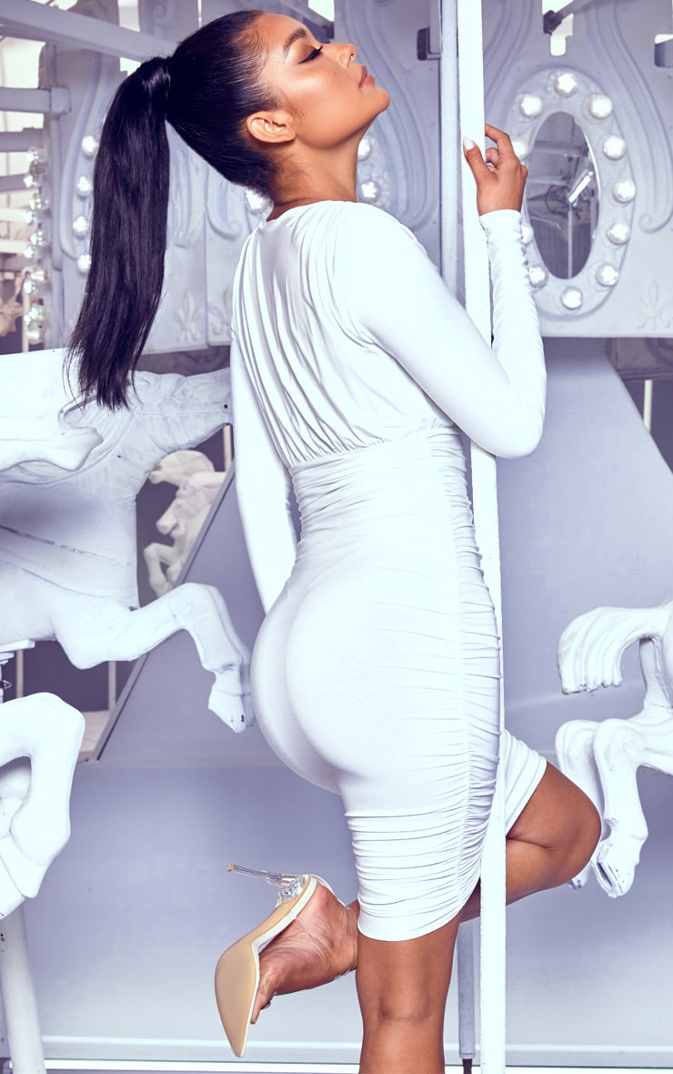 White Ruched Plunge Bodycon Dress 2