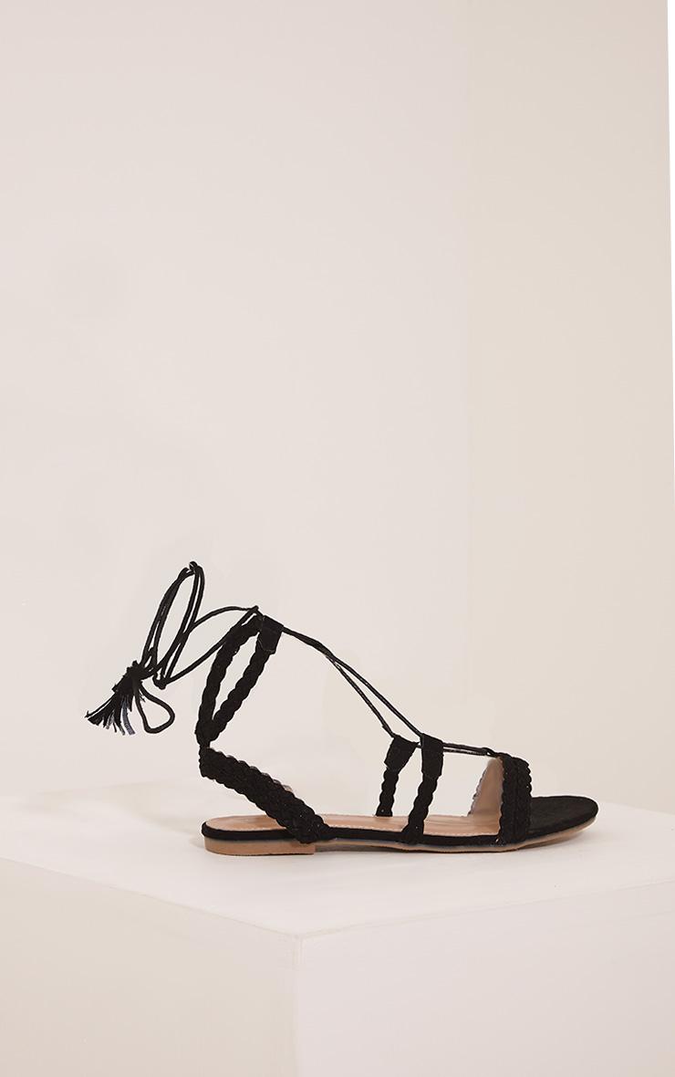 Catia sandales noires à détail lacets 3