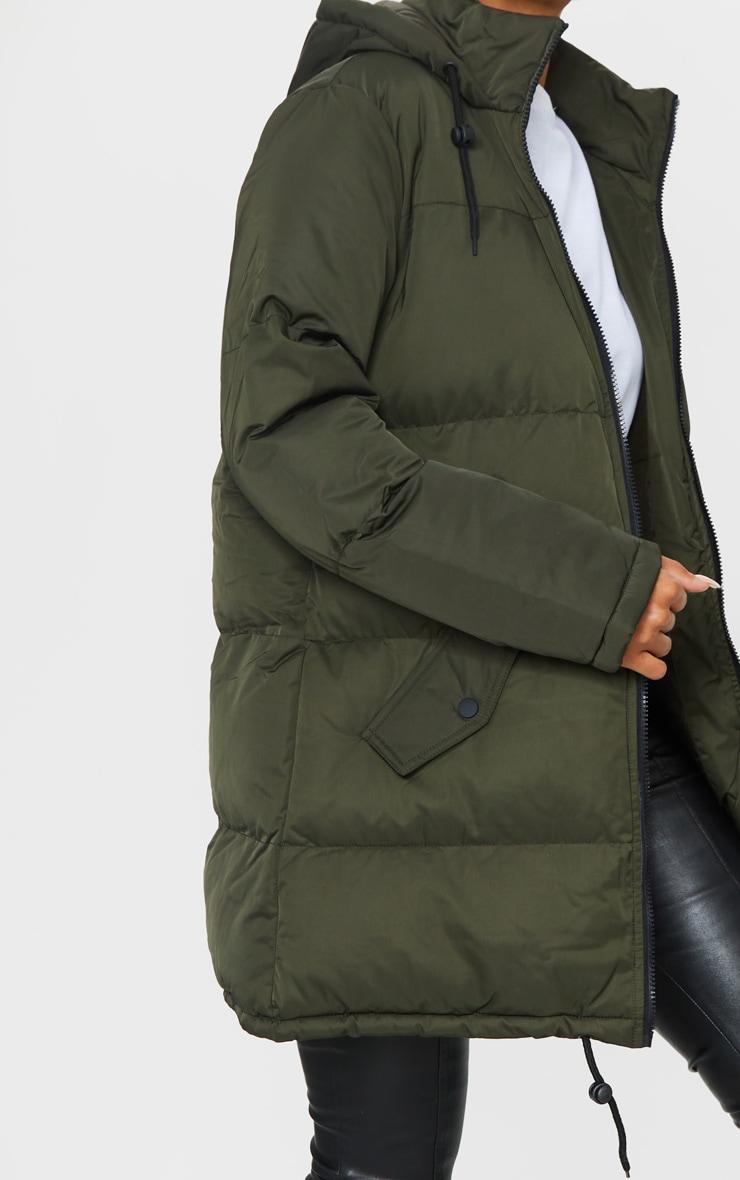 Khaki Hooded Longline Puffer Coat 4