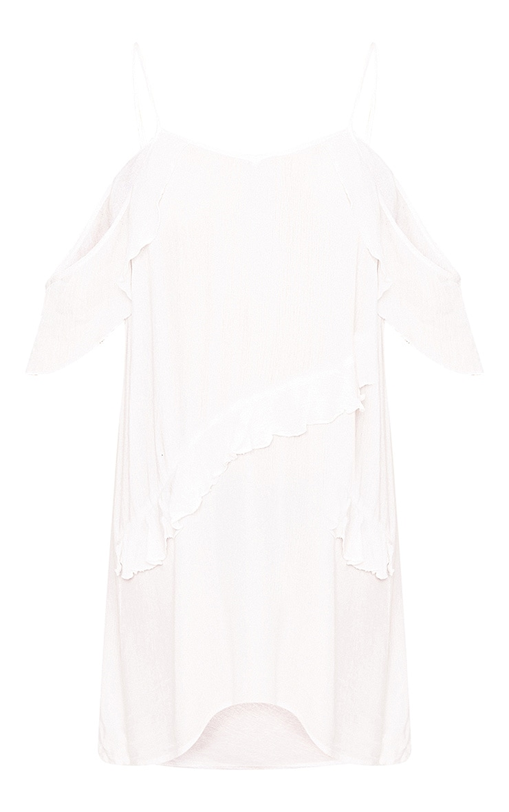 Lunairre White Cheesecloth Frill Cold Shoulder Shift Dress  3