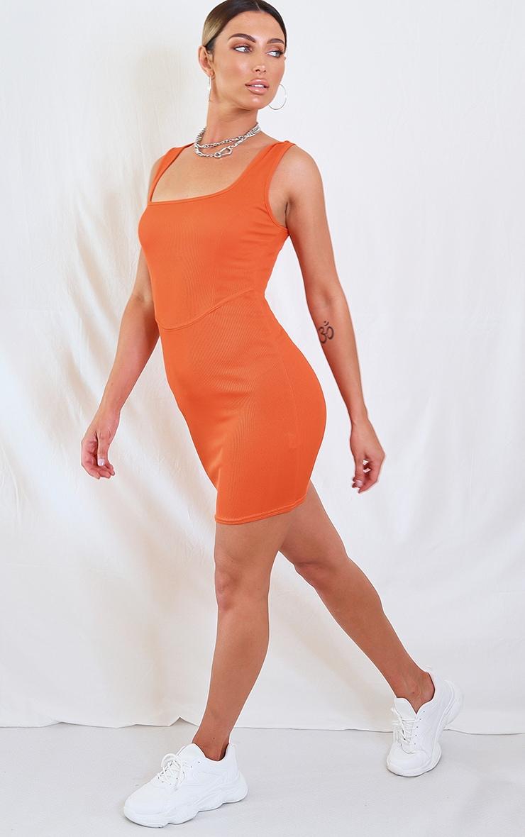 Orange Ribbed Square Neck Waist Binding Bodycon Dress 3