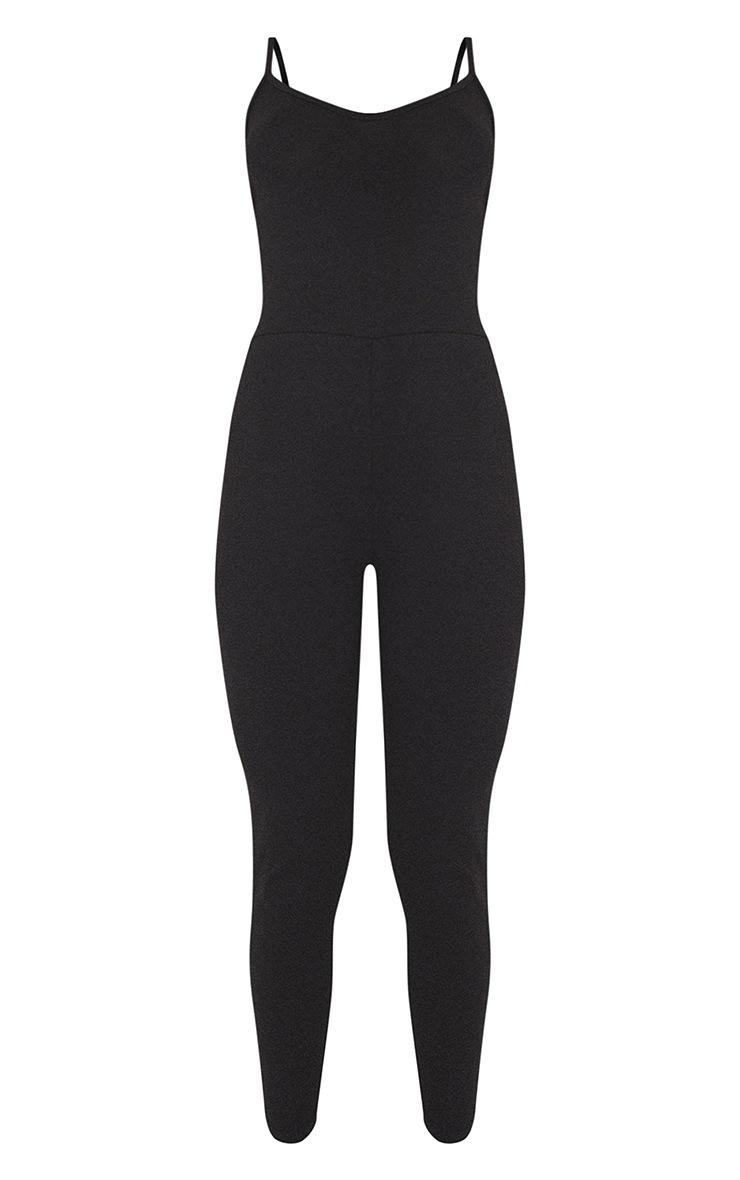 Essential Black Cotton Blend Strappy Plunge Jumpsuit 5