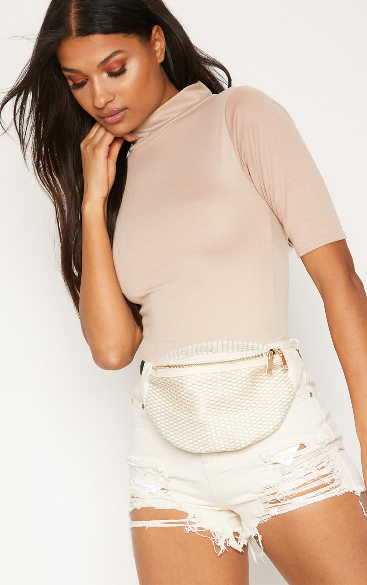 Cream Mesh Bum Bag