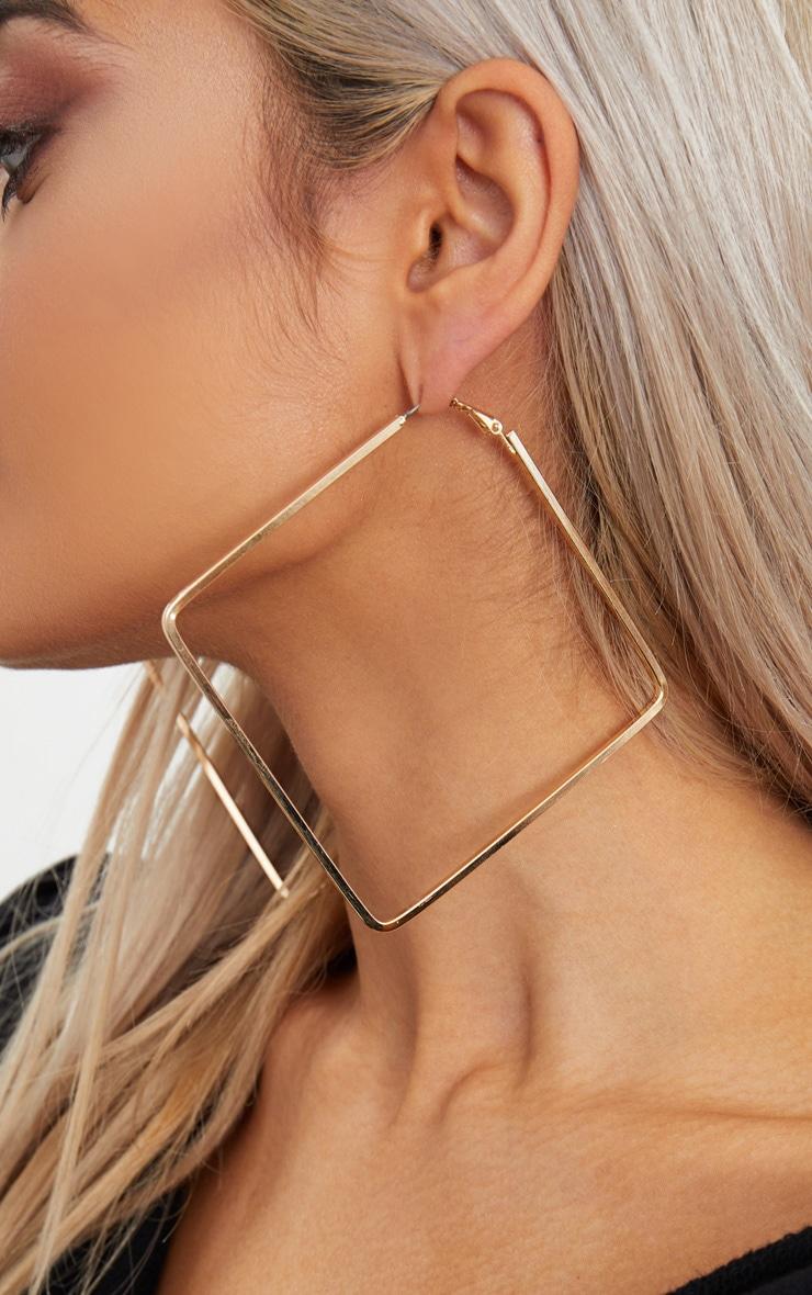 Gold Large Square Hoop Earrings 2