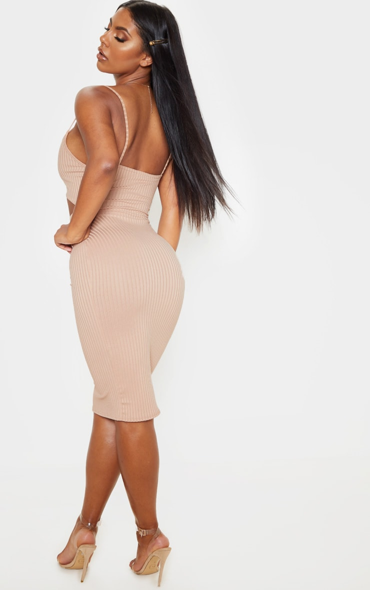 Stone Ribbed Cut Out Strappy Midi Dress 2