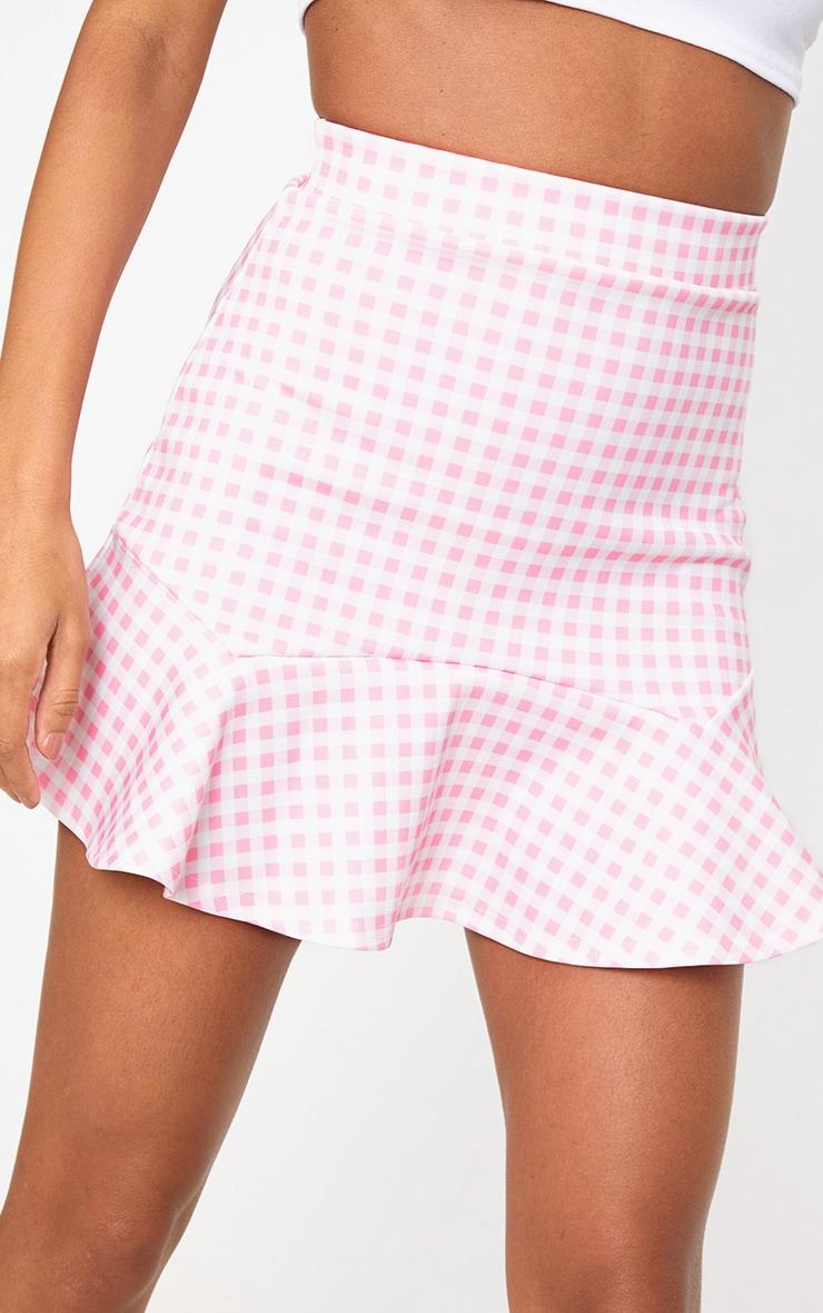 Pink Gingham Flippy Hem Mini Skirt 6