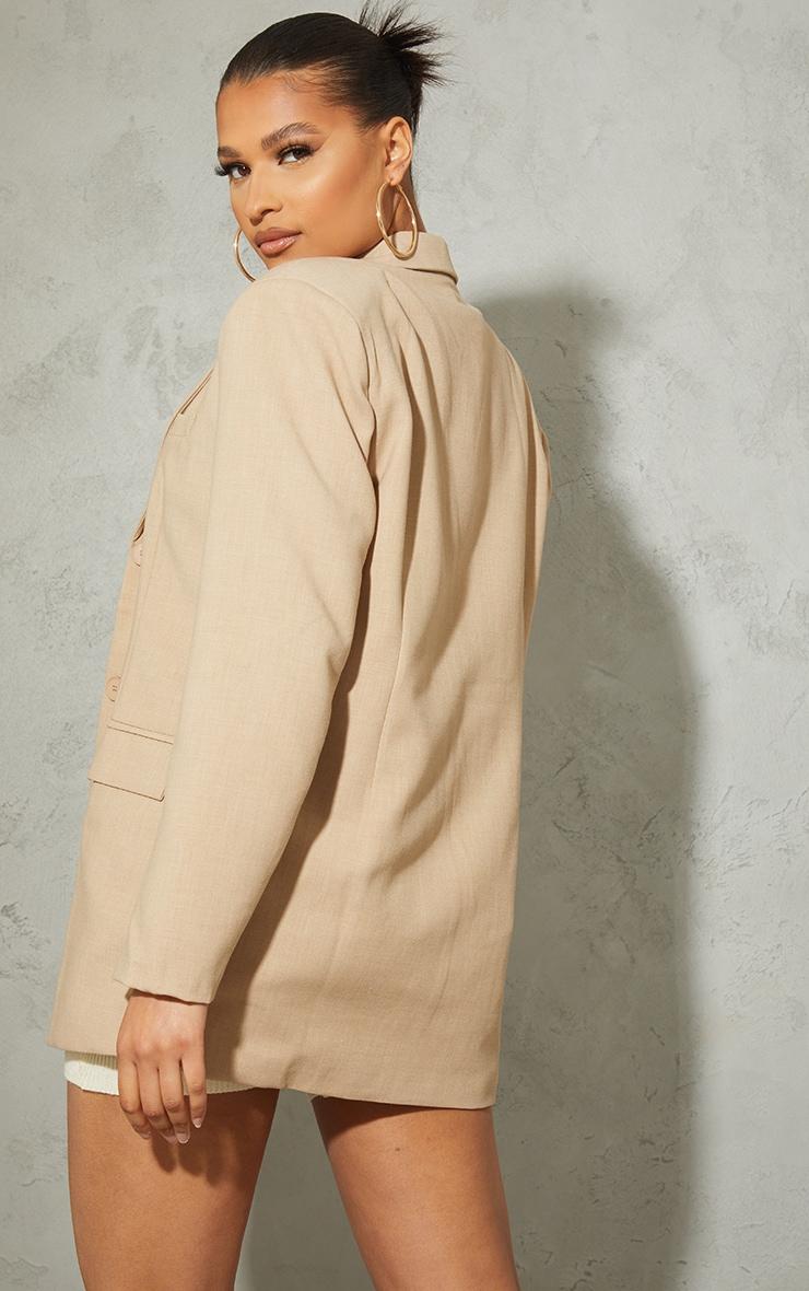 Blazer gris pierre en maille tissée style lin à épaulettes, boutons et détail poches 3
