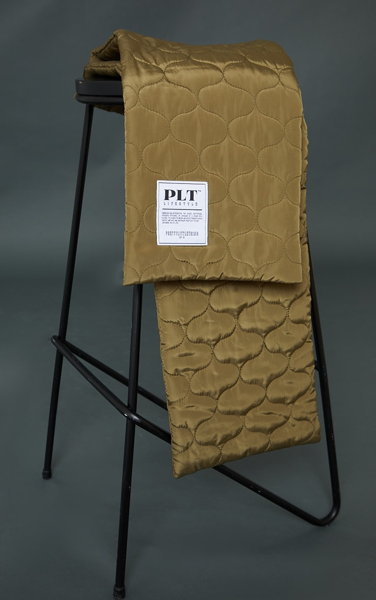 PRETTYLITTLETHING Khaki Lifestyle Quilted Scarf 2