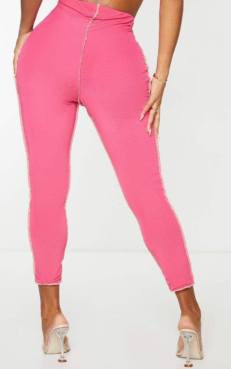 Shape Hot Pink Mesh Seam Detail Cropped Leggings 4