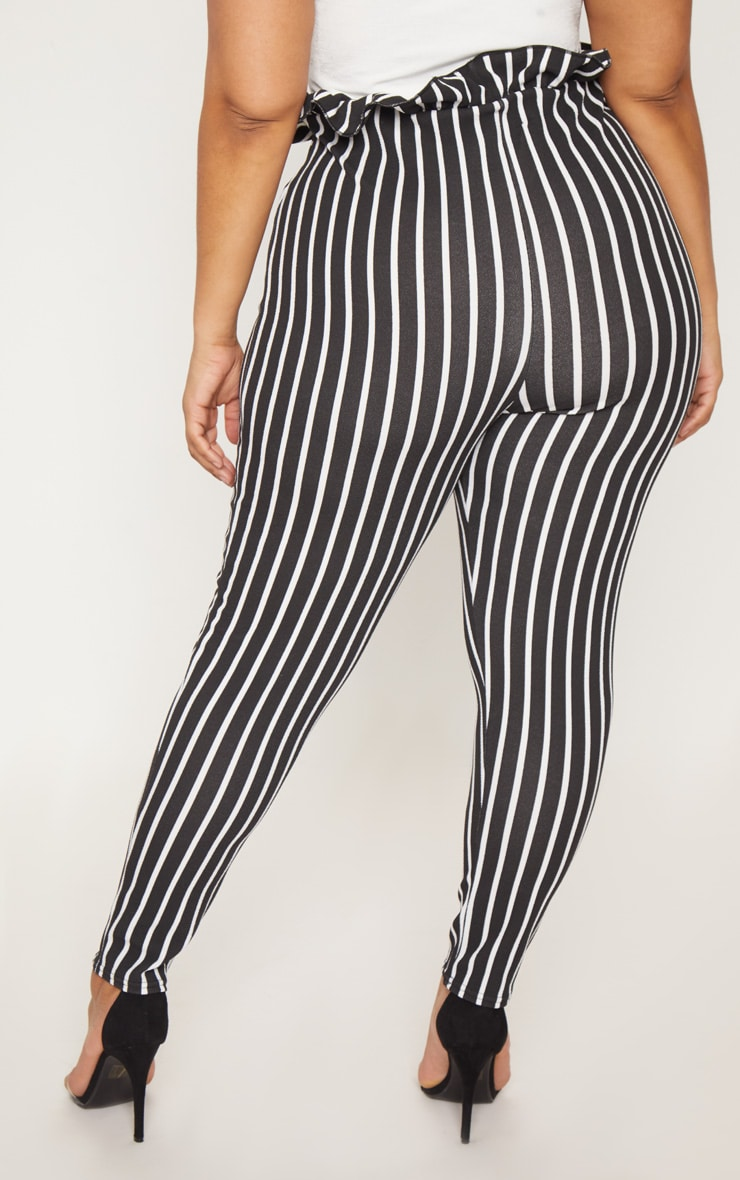 Plus Black Pinstripe Paperbag Skinny Trousers 4