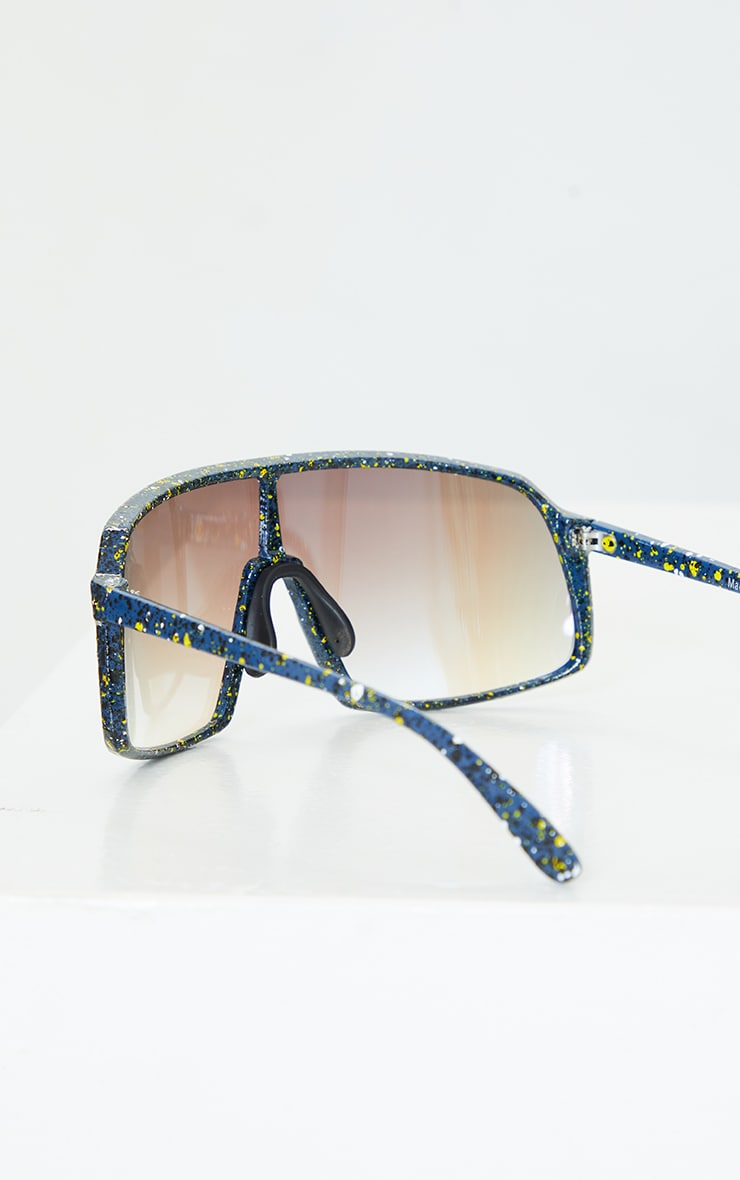 Blue Paint Splat Revo Square Frame Sunglasses 2