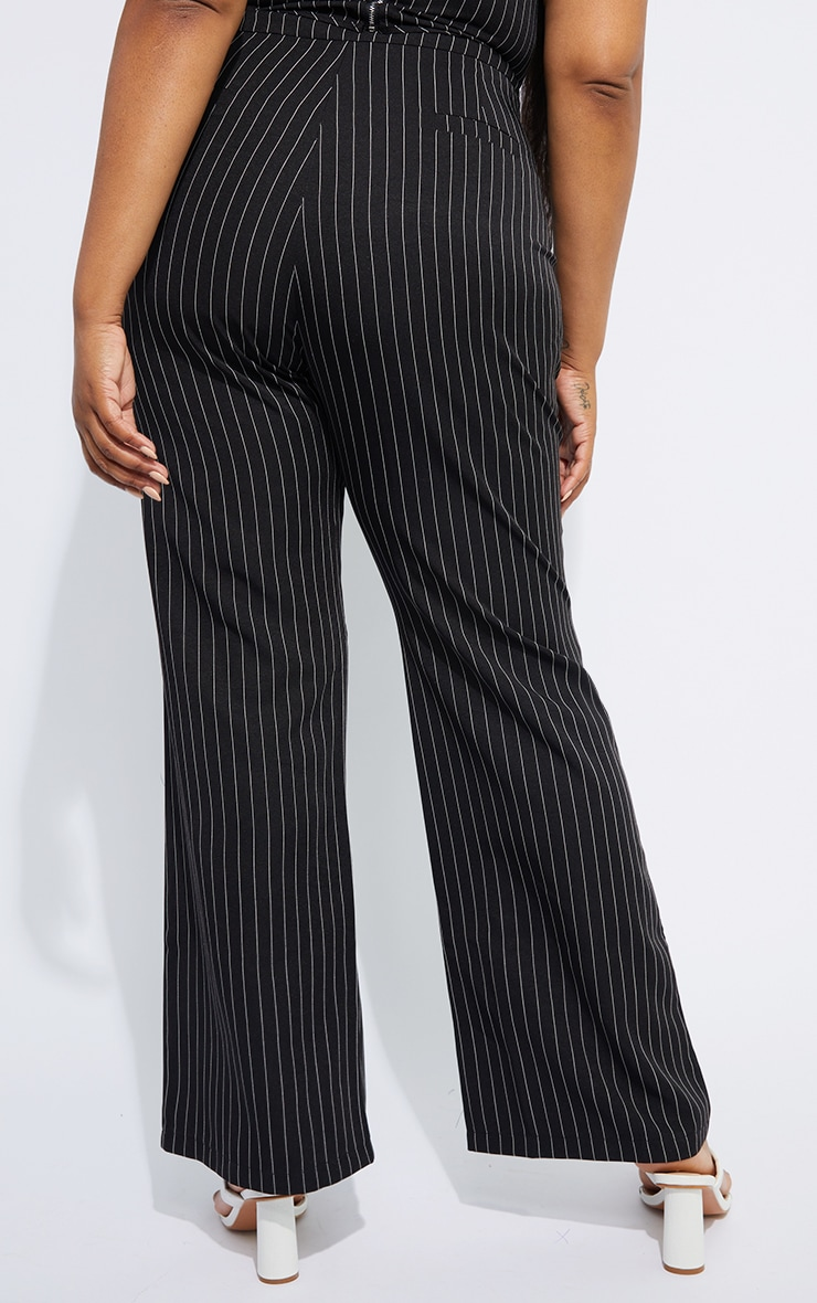 Plus Black Contrasting Pinstripe Pants 3