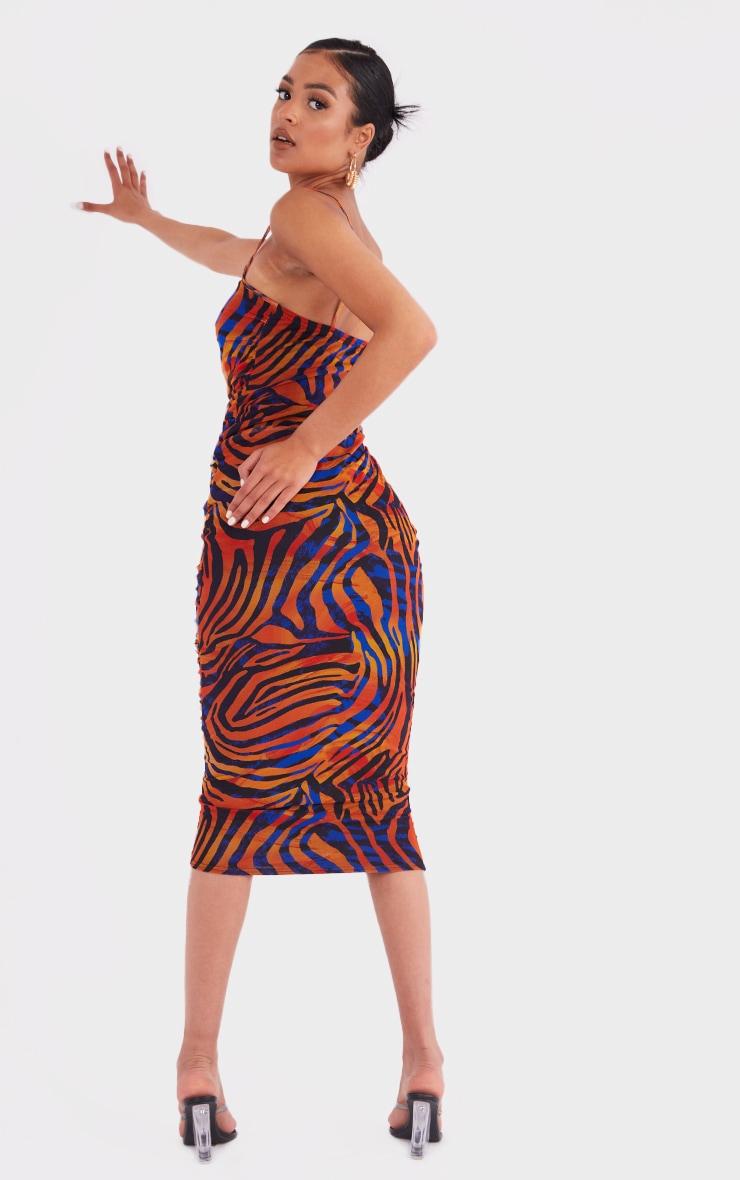 Tall  Blue Zebra Print Mesh Ruched Maxi Dress 2