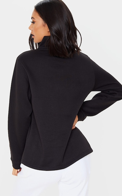 PRETTYLITTLETHING Black Slogan Oversized Zip Front Sweater