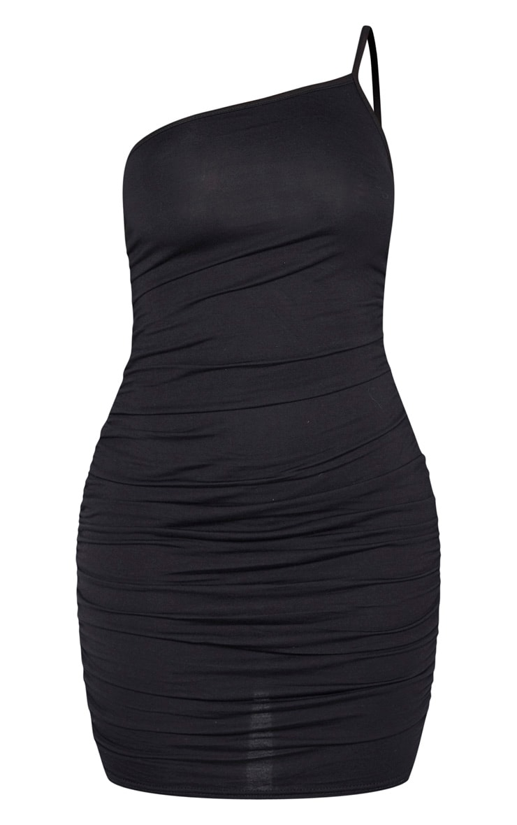 Shape Black Jersey Ruched Side Asymmetric Bodycon Dress 3