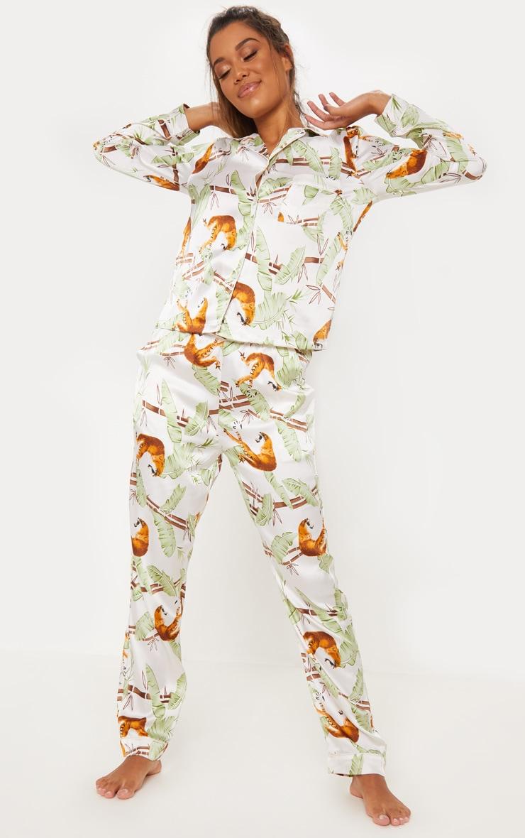 Jungle Tiger Long Satin Pyjama Set 4