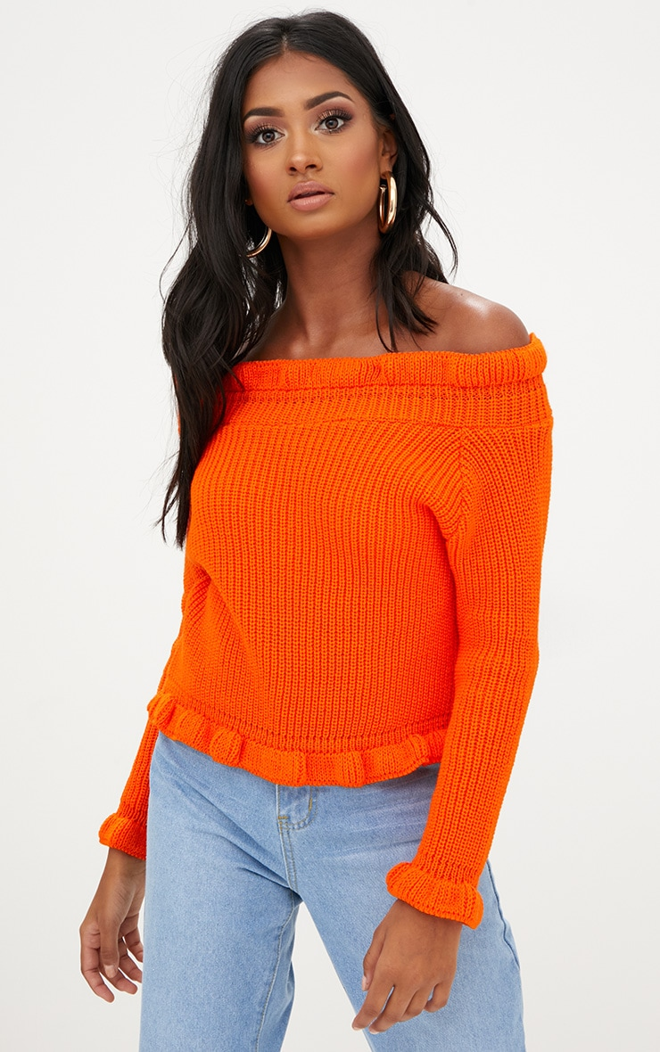 Orange Frill Bardot Jumper 1
