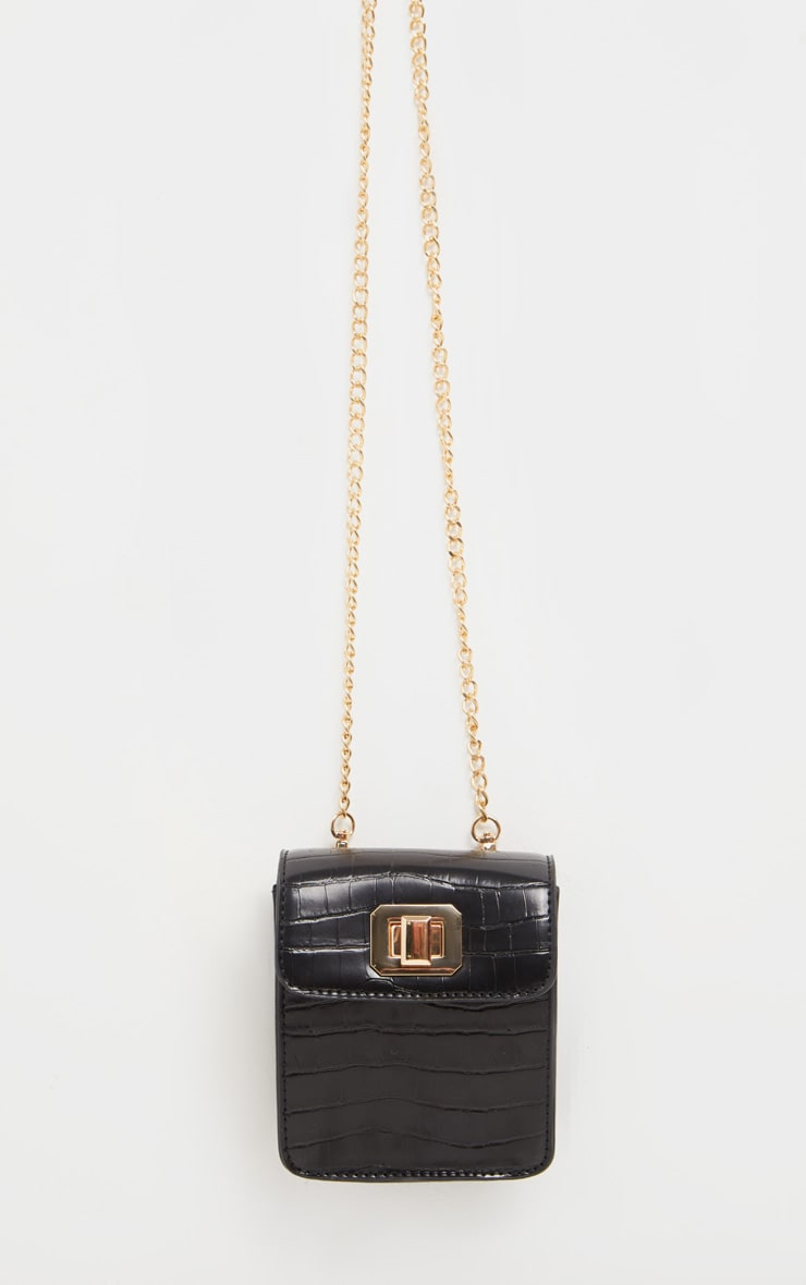 Black Croc Rectangle Cross Body Bag 2