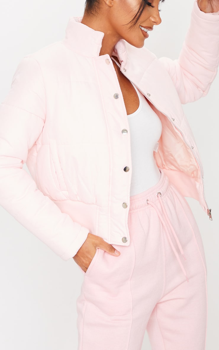 Pastel Pink Button Down Peach Skin Puffer 4