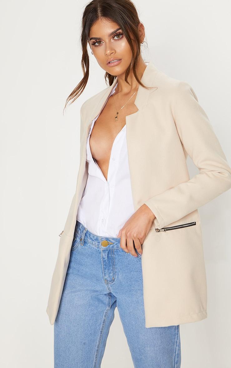 Cream Zip Pocket Wool Coat