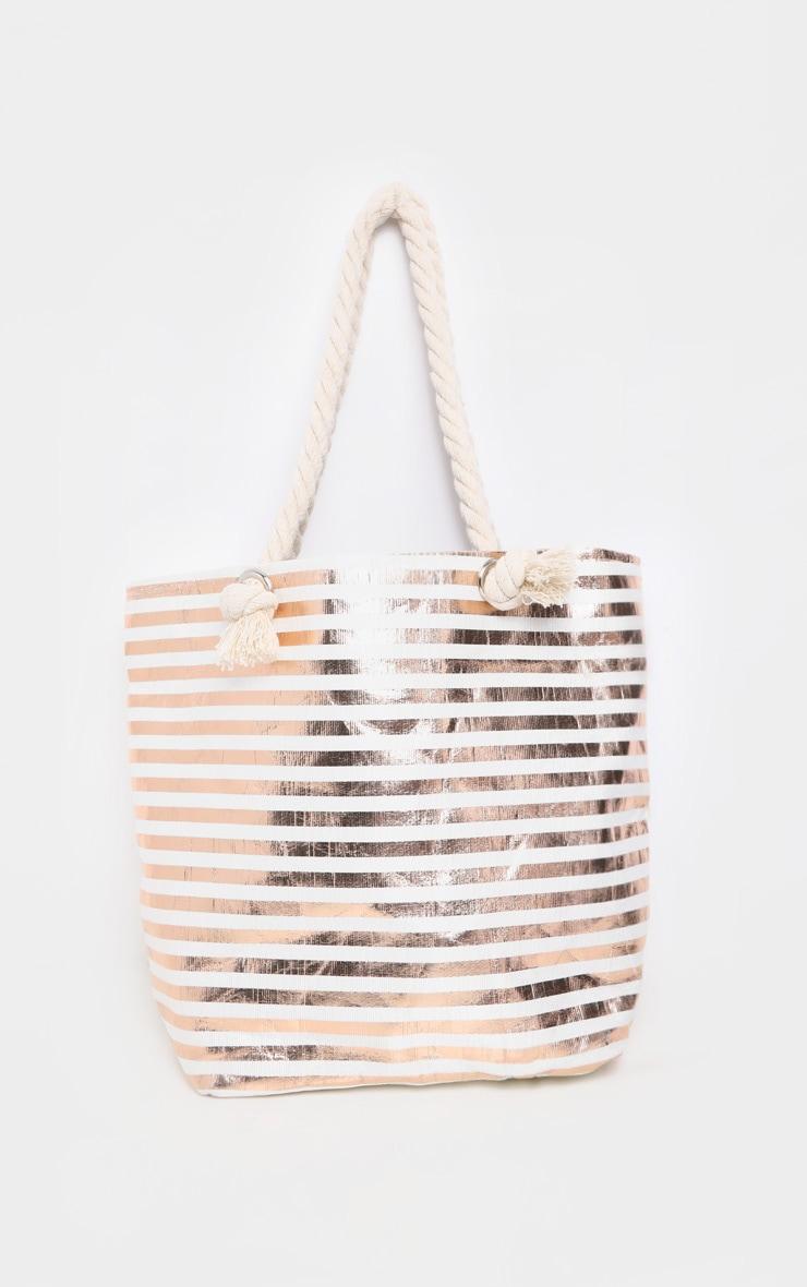 Ecru And Gold Metallic Stripped Beach Bag 2