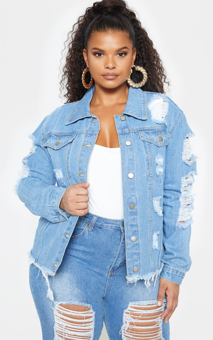 Plus Light Wash Distress Oversized Denim Jacket 1